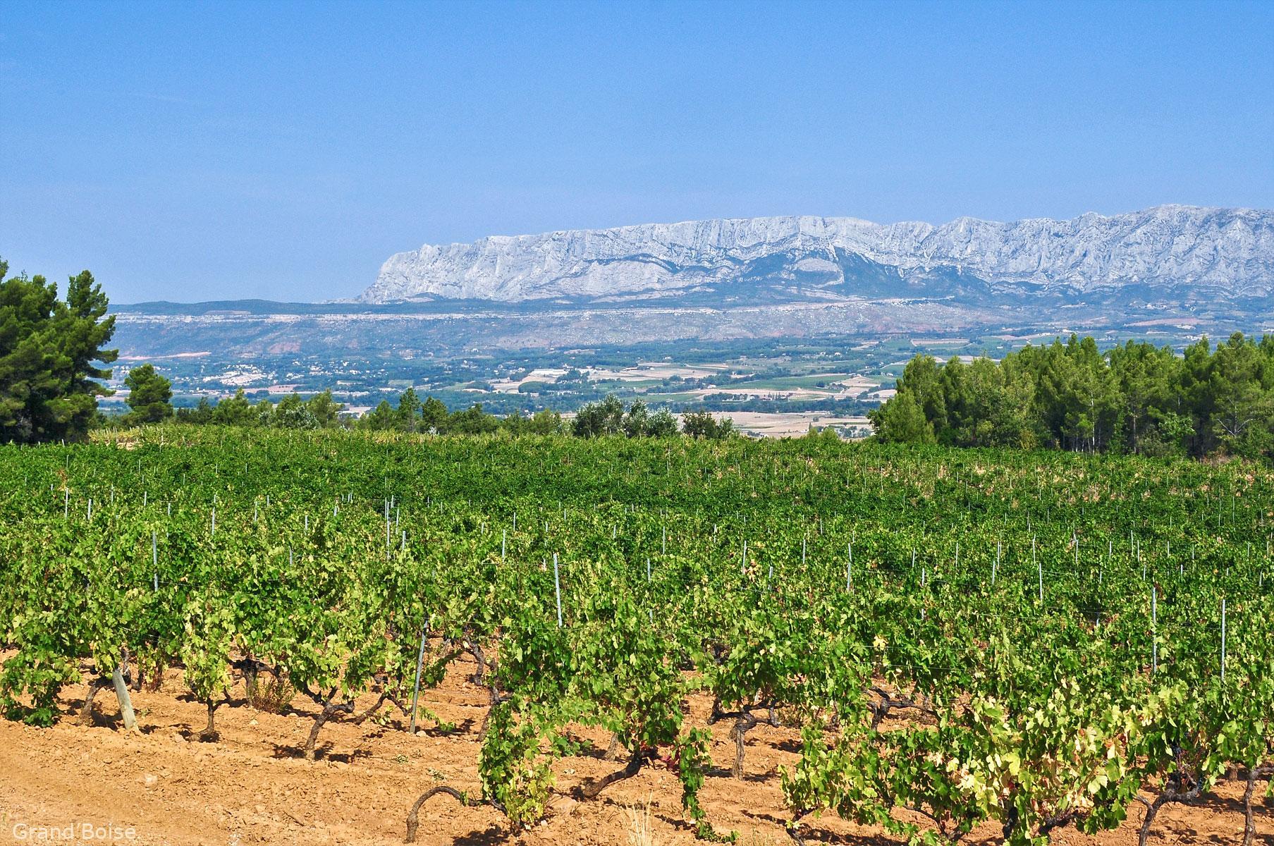 Provence Wine Tours - View of Sainte-Victoire Mountain far away 1807x1200