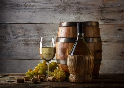 Provence Wine Tours - Cask, glass of white wine and grapes