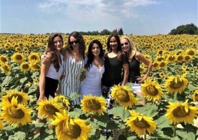 Provence Wine Tours - A group of hosts on a private wine tour posing in a sunflower field