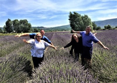 Provence Wine Tour - A group on a wine tour in Provence, inside a lavender field